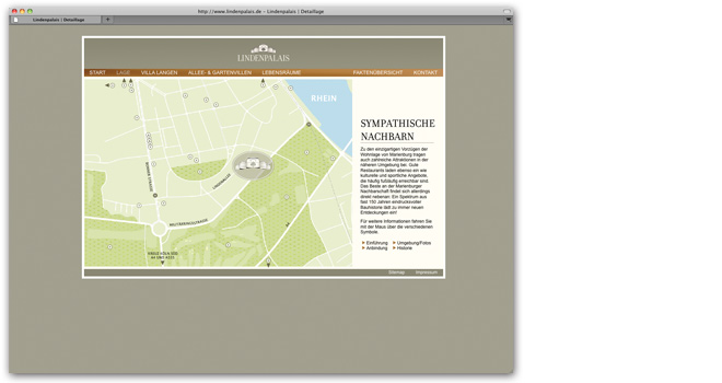 Immobilienmarketing und Webdesign: Kartendarstellung Website Lindenpalais