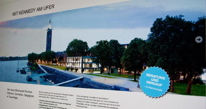 Immobilienmarketing: Rheinpark Pavillon Webvisitenkarte