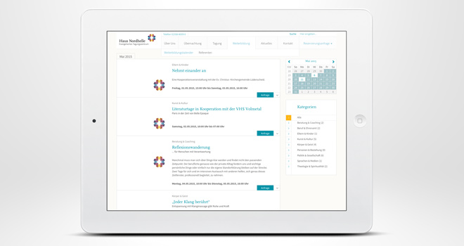 Responsive Website: Haus Nordhelle - Weiterbildungskalender
