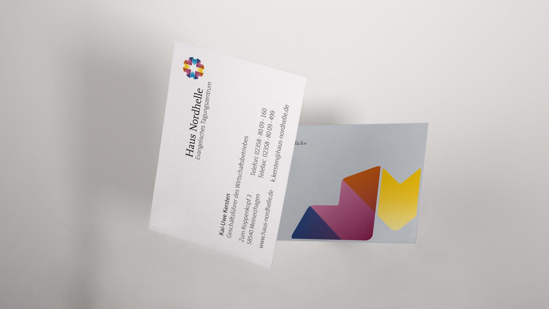 Das Corporate Design von Haus Nordhelle, hier die Visitenkarte