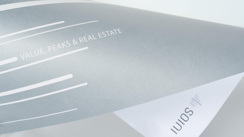 Detail vom Briefbogen: Mit Silber-Grau-Druck auf der Rückseite