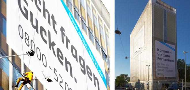 Immobilenmarketing XXL: reinsicht gestaltet am Waidmarkt eine fotorealistische Fassadenverhüllung.